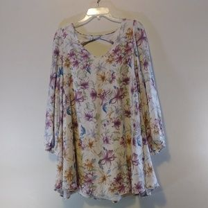 Impressions Floral Tunic with Cut-Out Back